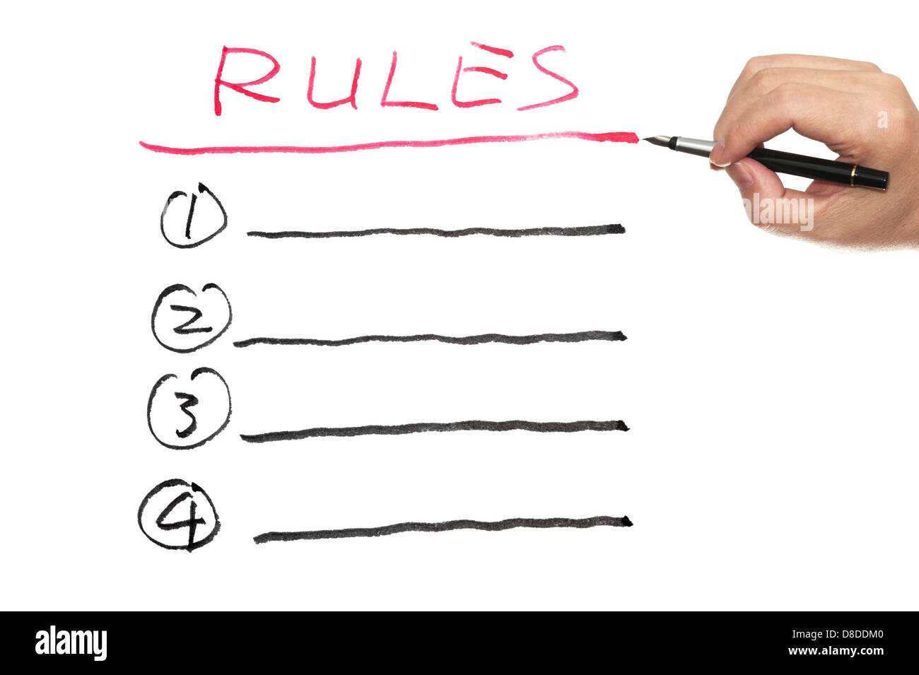 Rules list written on white paper - Stock Image