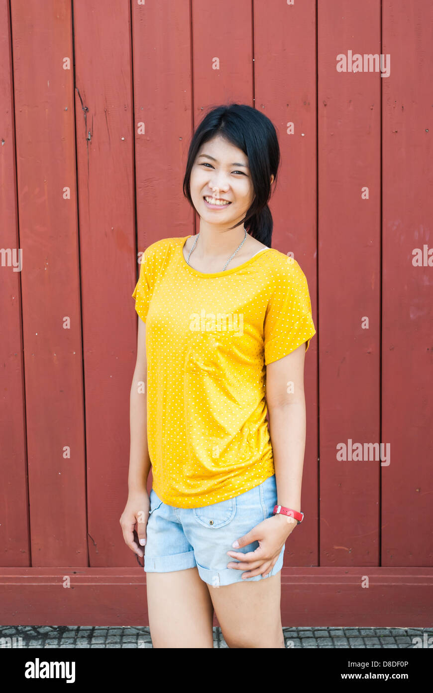 Asian Thai Girl in Natural Acting - Stock Image