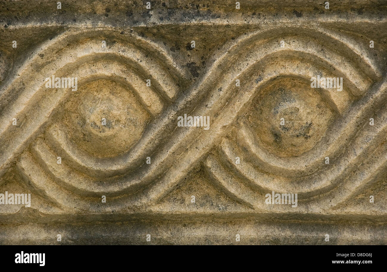 Engrave eyes on the stone - ancient city Myra from Turkey - Stock Image