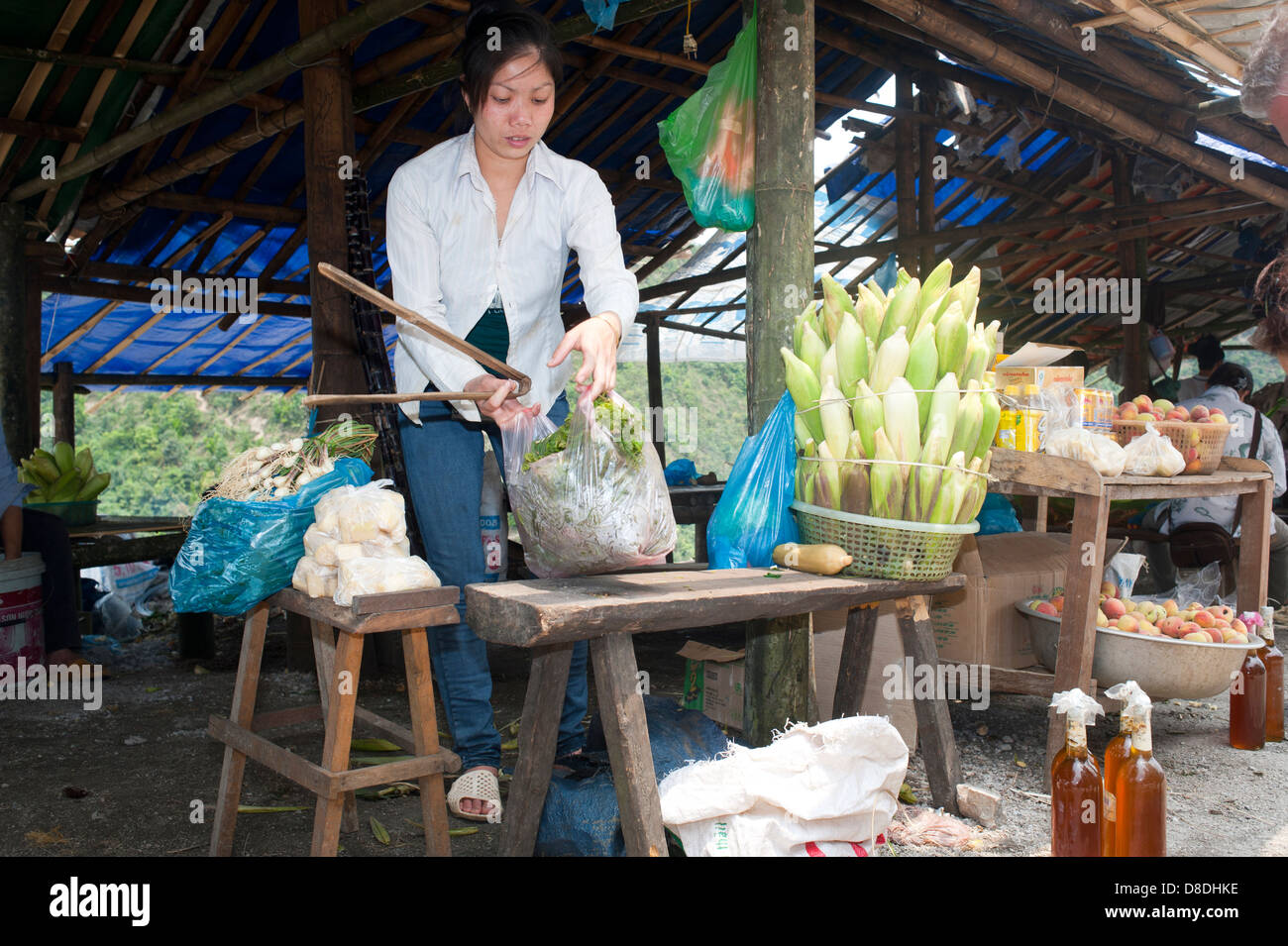 North Vietnam, street food market - Stock Image