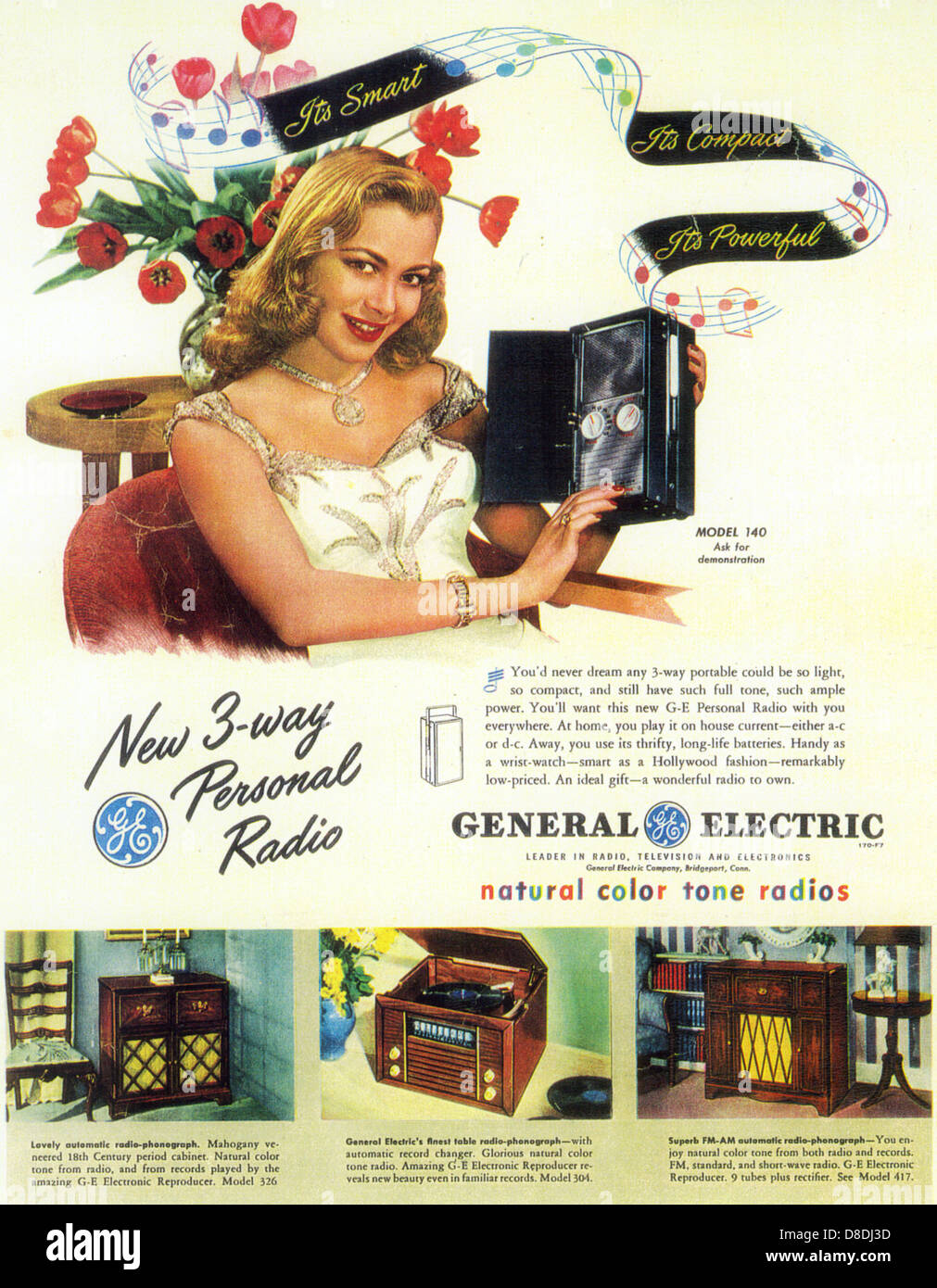 GENERAL ELECTRIC PERSONAL RADIO Advert 1947