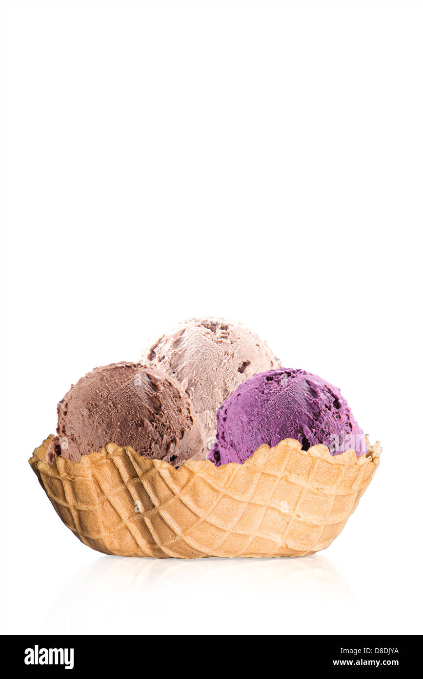 ice cream in waffle - Stock Image