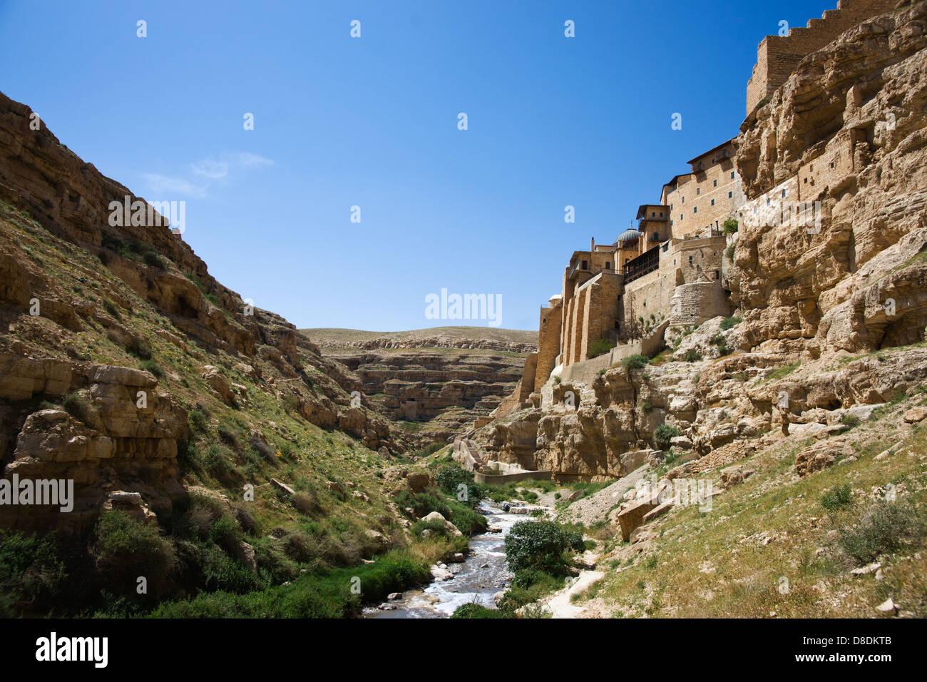 Great Lavra of St. Sabbas the Sanctified (Mar Saba)  Greek Orthodox monastery, Kidron Valley, Palestine Stock Photo