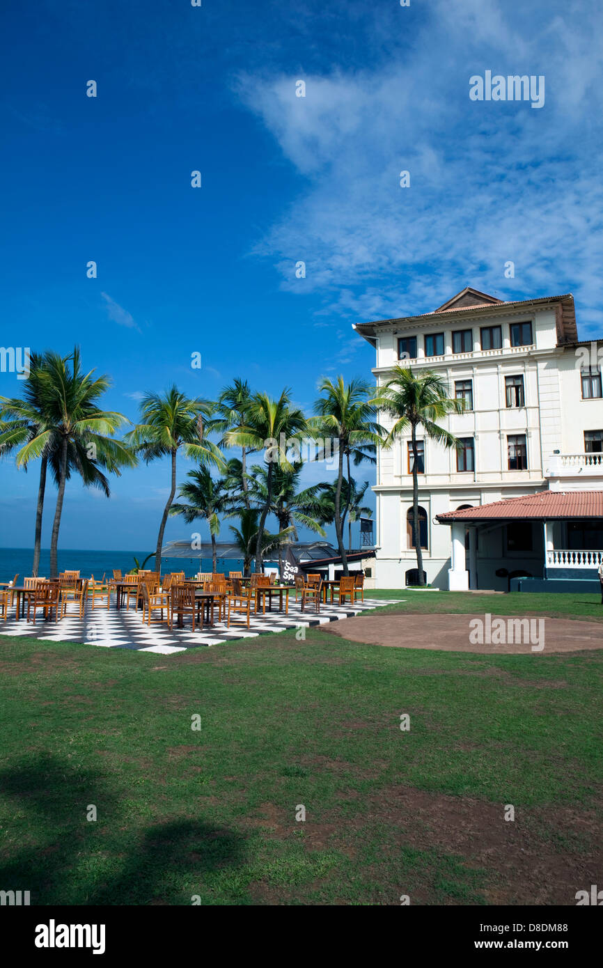 A view of the chequerboard at the Galle Face Hotel in Colombo, Sri Lanka - Stock Image