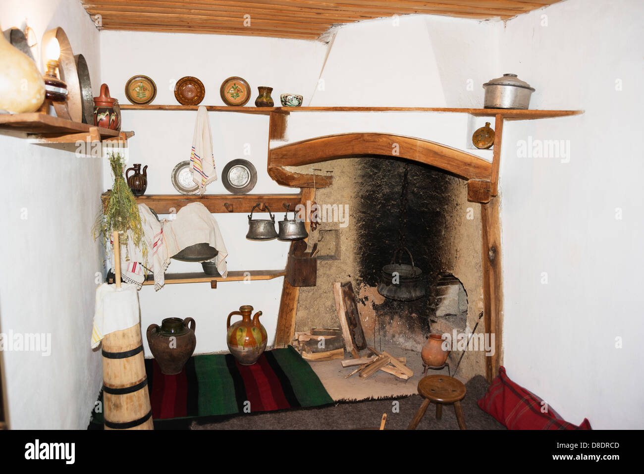 Europe, Bulgaria, Etar Ethnographic Village Museum, kitchen - Stock Image