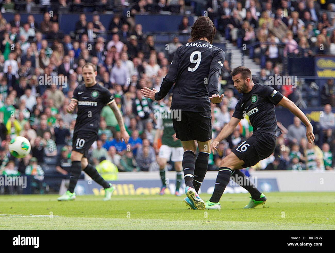 Glasgow, Scotland. 26th May, 2013.       Celtic's Joe Ledley scoring to make it 3-0  during the William Hill Scottish Stock Photo