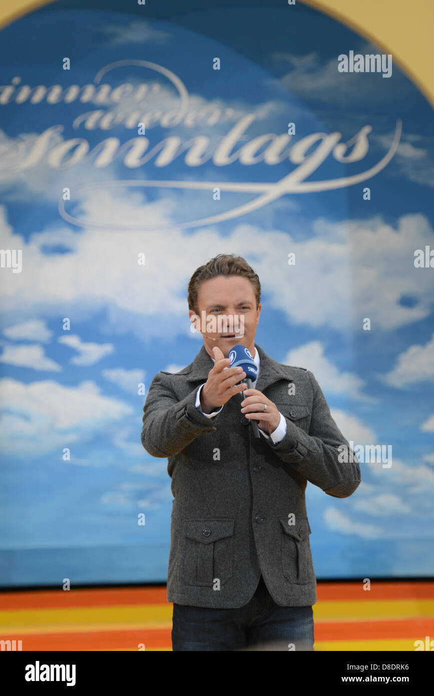 Presentor Stefan Mross hosts the ARD music show 'Immer wieder sonntags' at Europapark in Rust, Germany, - Stock Image