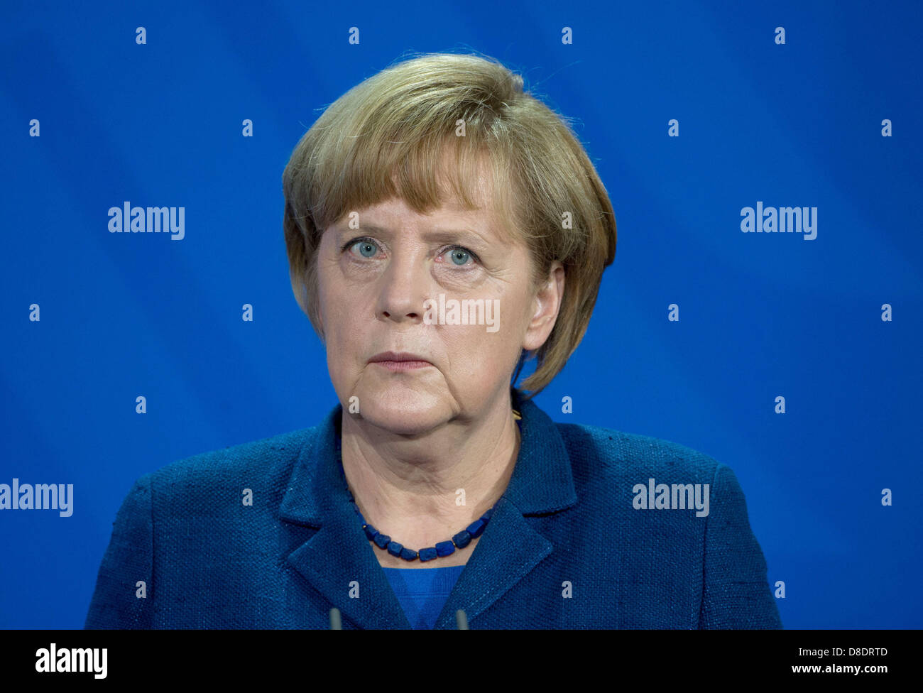 German Chancellor Angela Merkel takes part in a a joint news conference with New Premier of China Li at the Federal Stock Photo