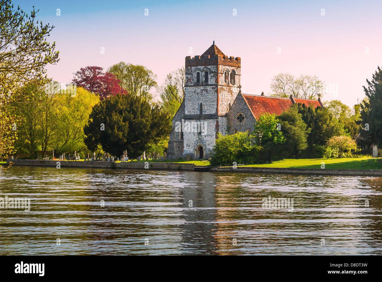 All Saints Church Bisham across the River Thames, Marlow, Buckinghamshire, UK, England - Stock Image