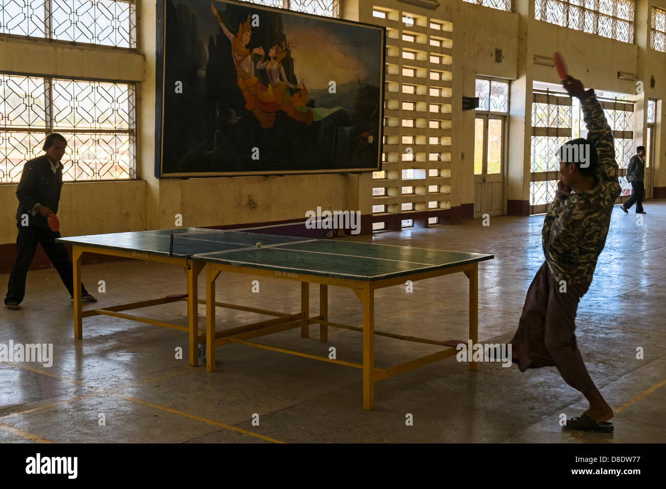 Table tennis player in railway station, Aungban, Myanmar, Asia - Stock Image