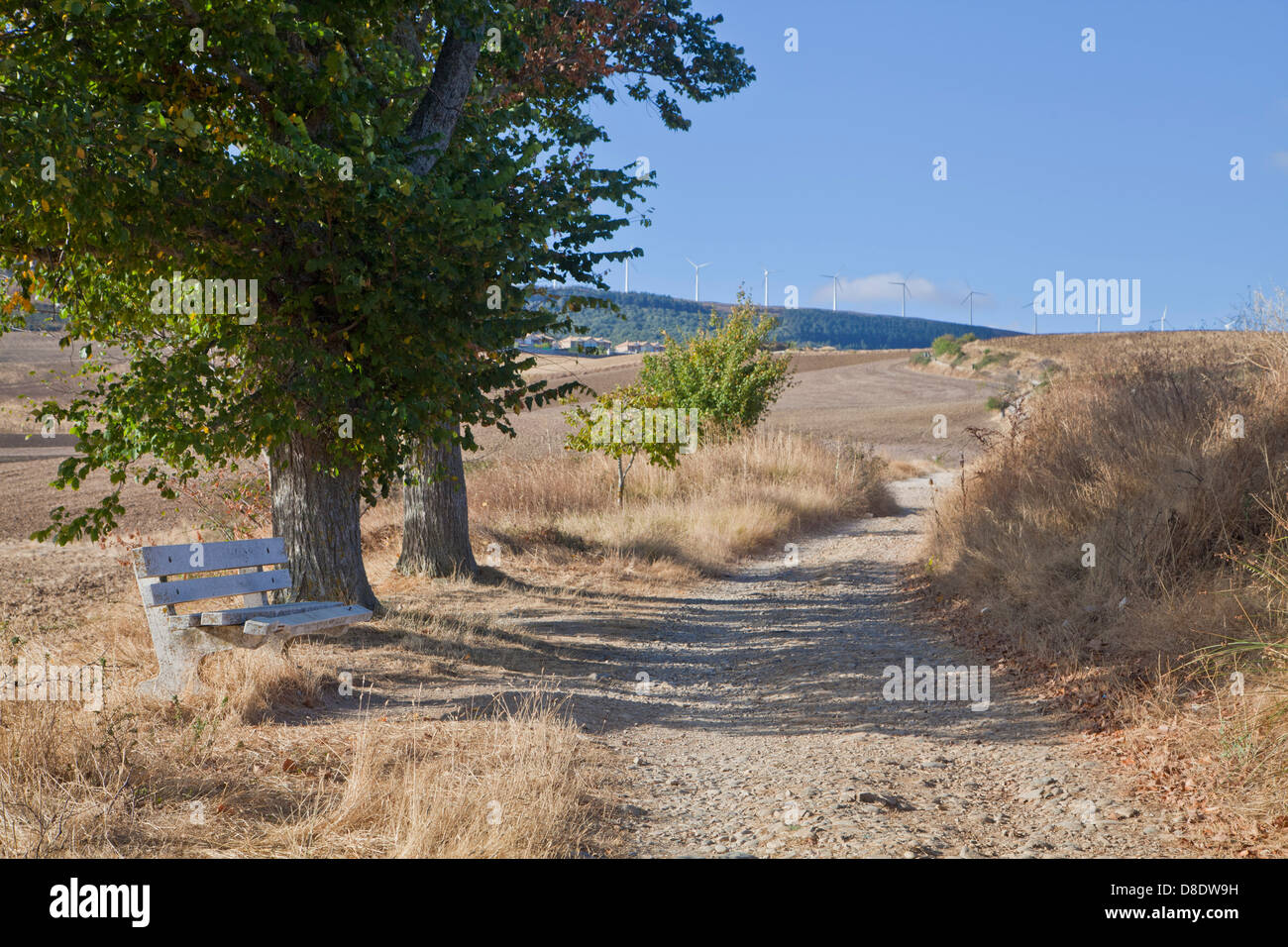 The Road to Santiago de Compostella; The French Way up to the way to Alto de Perdon, near Pamplona Spain. A pilgrimage - Stock Image