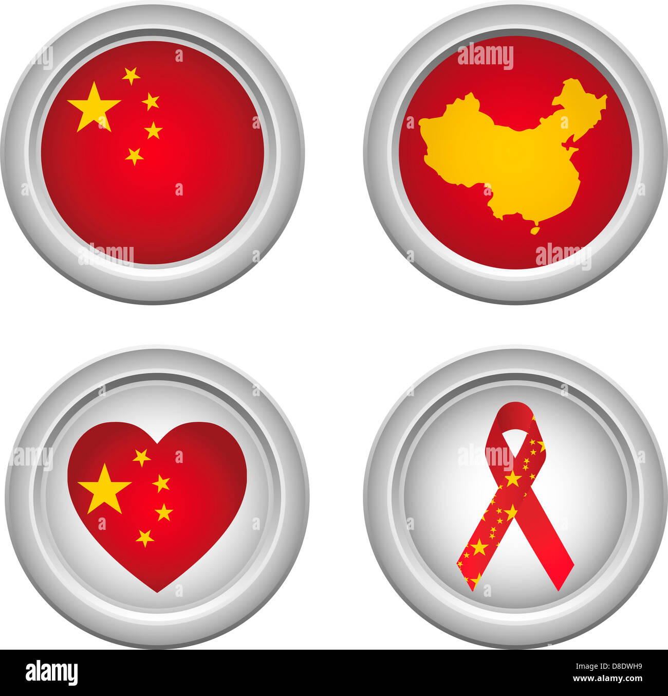 Chinese Buttons with ribbon, heart, map and flag - Stock Image