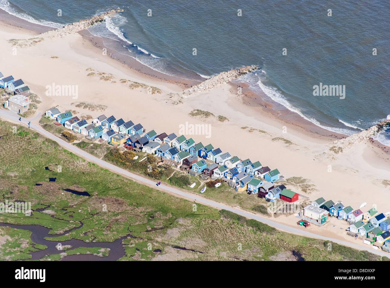 Aerial View of beach huts at Hengistbury Head Dorset UK - Stock Image