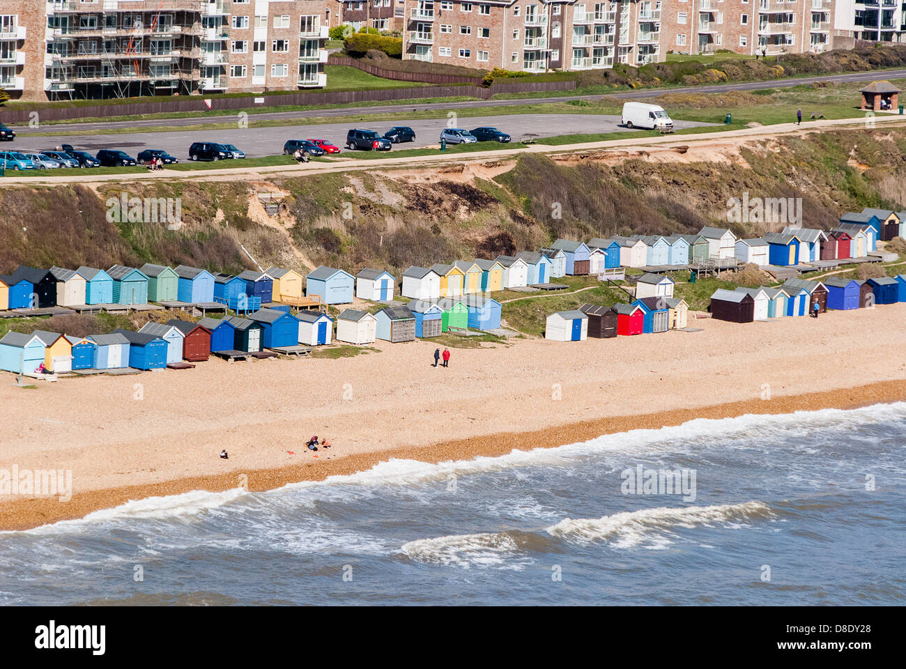 Milford On Sea Barton On Sea Aerial view of Beach Huts - Stock Image