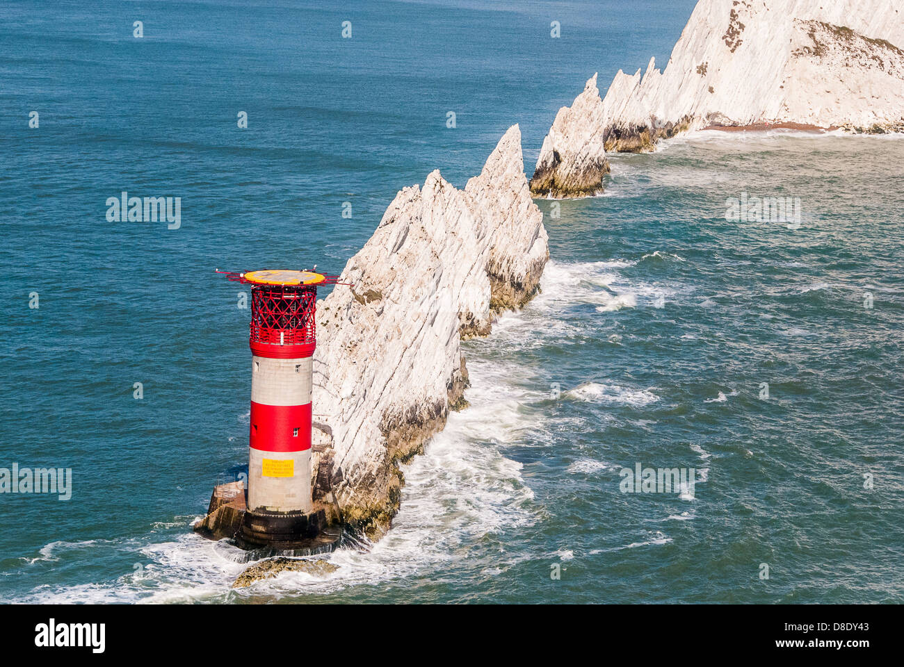 Aerial view of The Needles and Lighthouse Isle of Wight - Stock Image