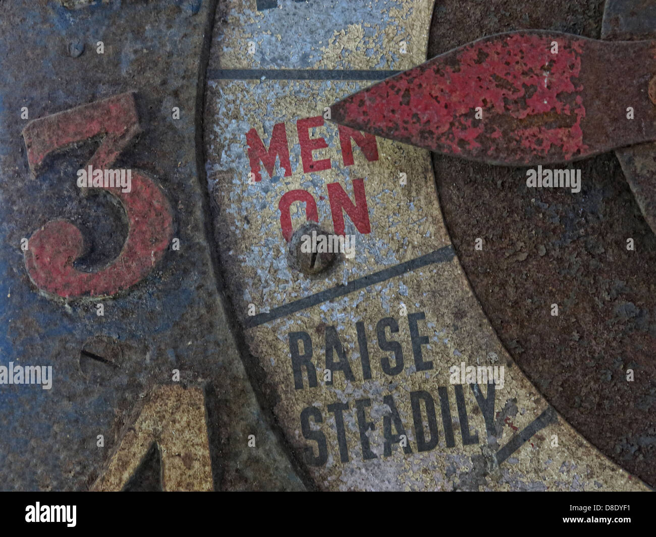 Mining Winding Gear Indicator - Men On Raise Steadily - Stock Image