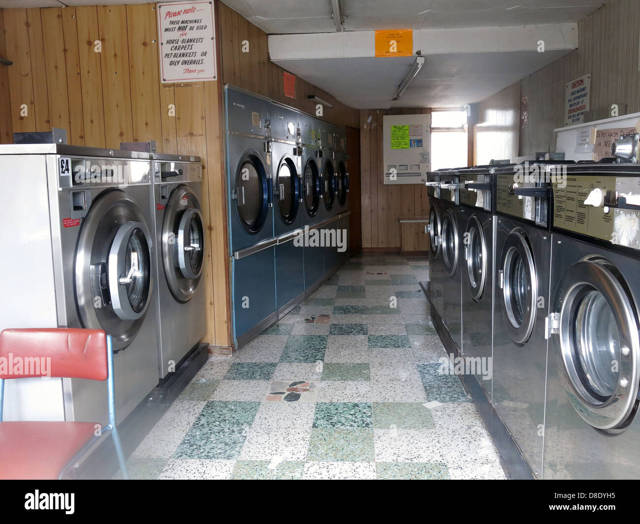 Grappenhall Warrington Traditional Launderette clothes wash shop - Stock Image