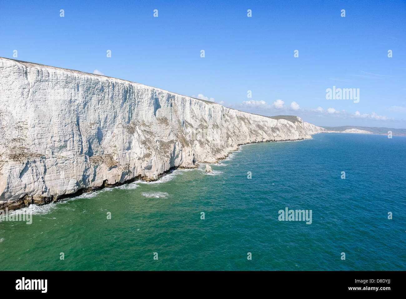 Aerial Photography  view of white cliffs Tennyson Down near the needles on Isle of Wight Hampshire UK - Stock Image