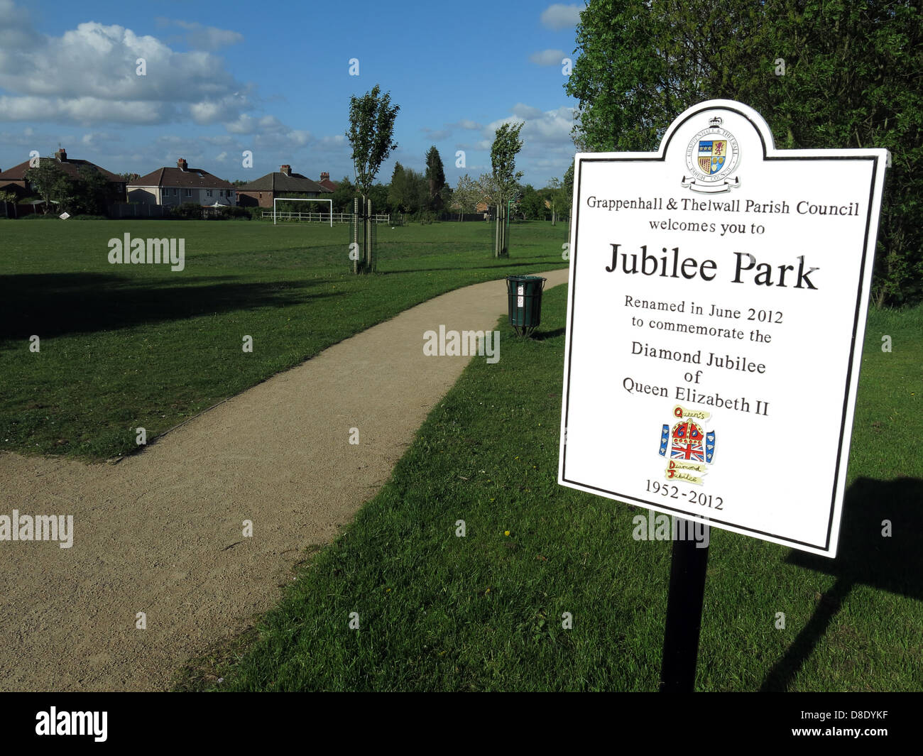 Grappenhall & Thelwall parish council Jubilee Park renamed 2012 Queen Elizabeth diamond jubilee year - Stock Image