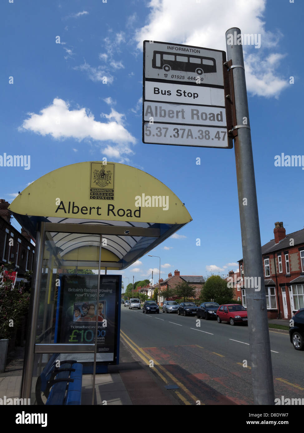 Albert Road bus stop Knutsford Road Warrington Cheshire England UK - Stock Image