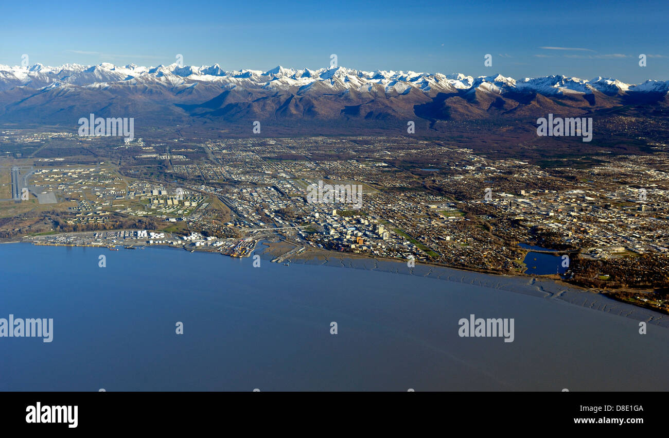 Anchorage Alaska, the largest city in Alaska at the head of the Cook Inlet by the Chugach Mountains - Stock Image