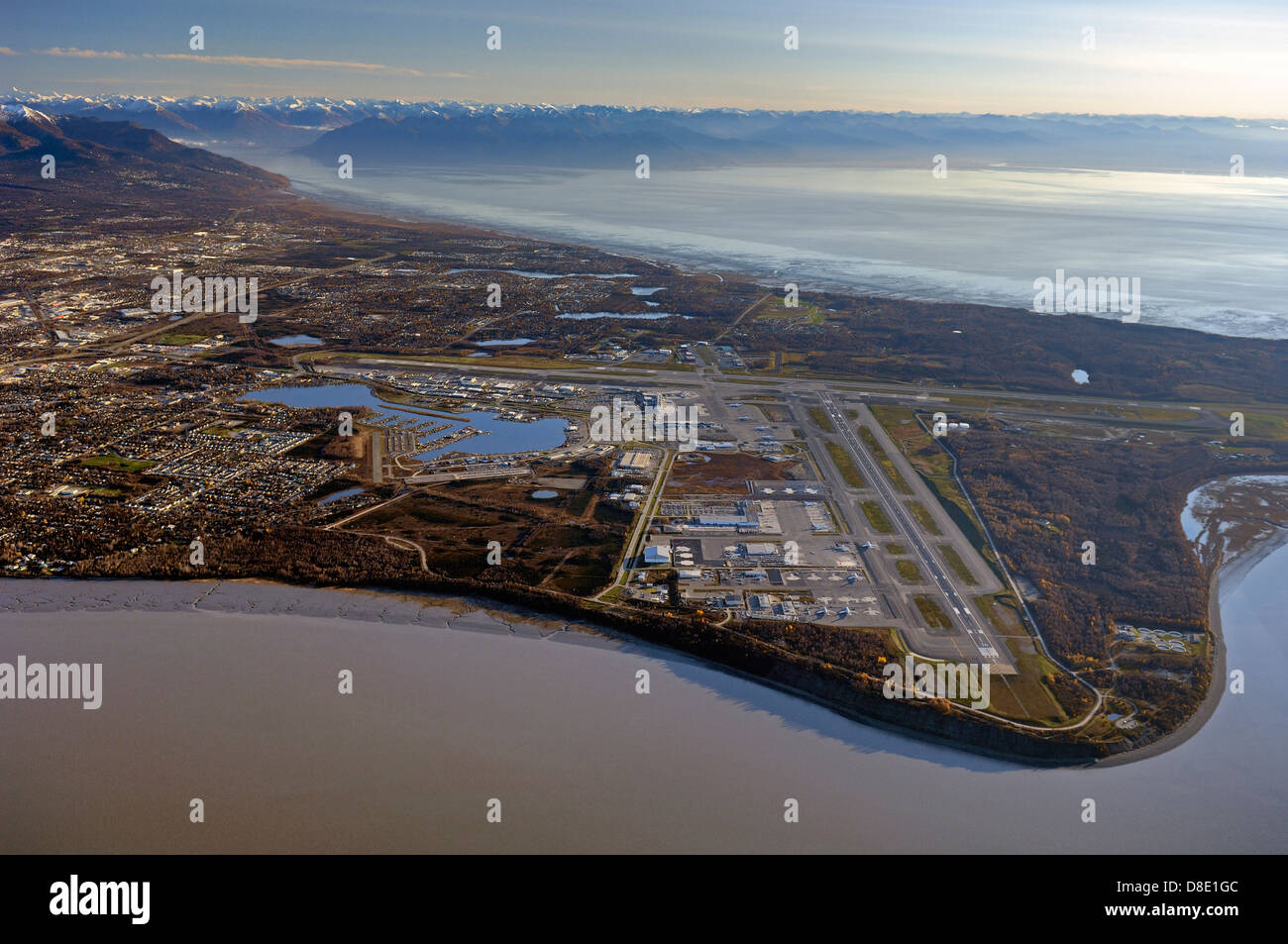 Ted Stevens Anchorage International Airport an aerial photo - Stock Image