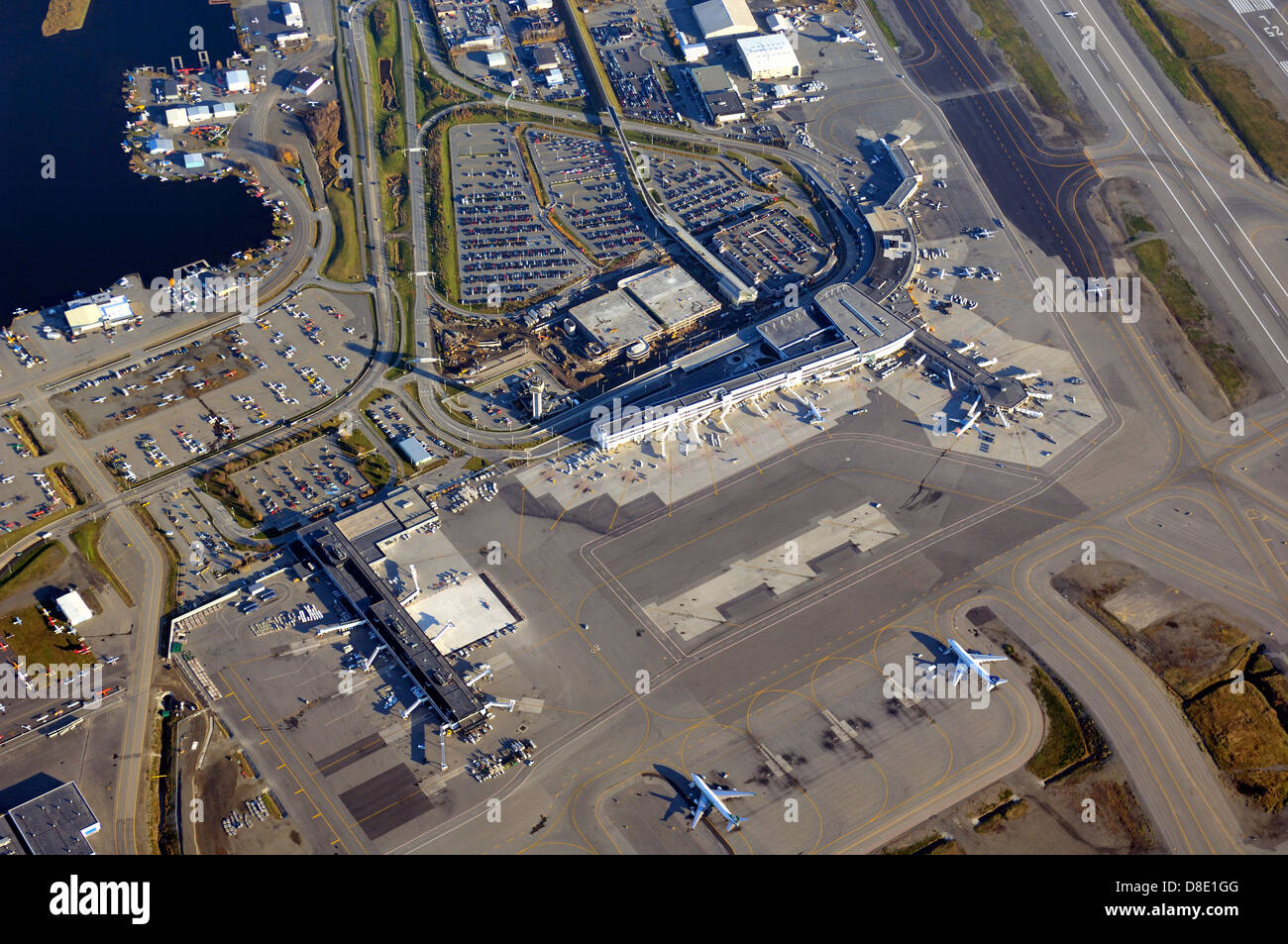 Ted Stevens Anchorage International Airport an aerial photo of the terminal - Stock Image