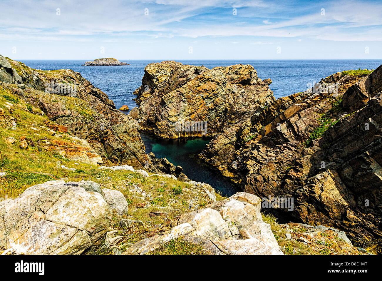 Rugged and Dramatic Landscape in Cape Bonavista, Newfoundland - Stock Image