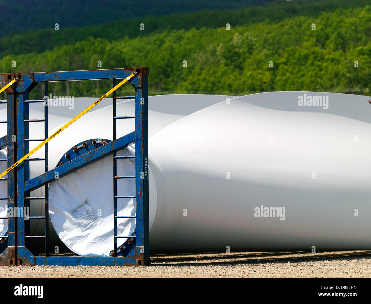 A wind turbine is a device that converts kinetic energy from the wind, also called wind energy, into mechanical - Stock Image