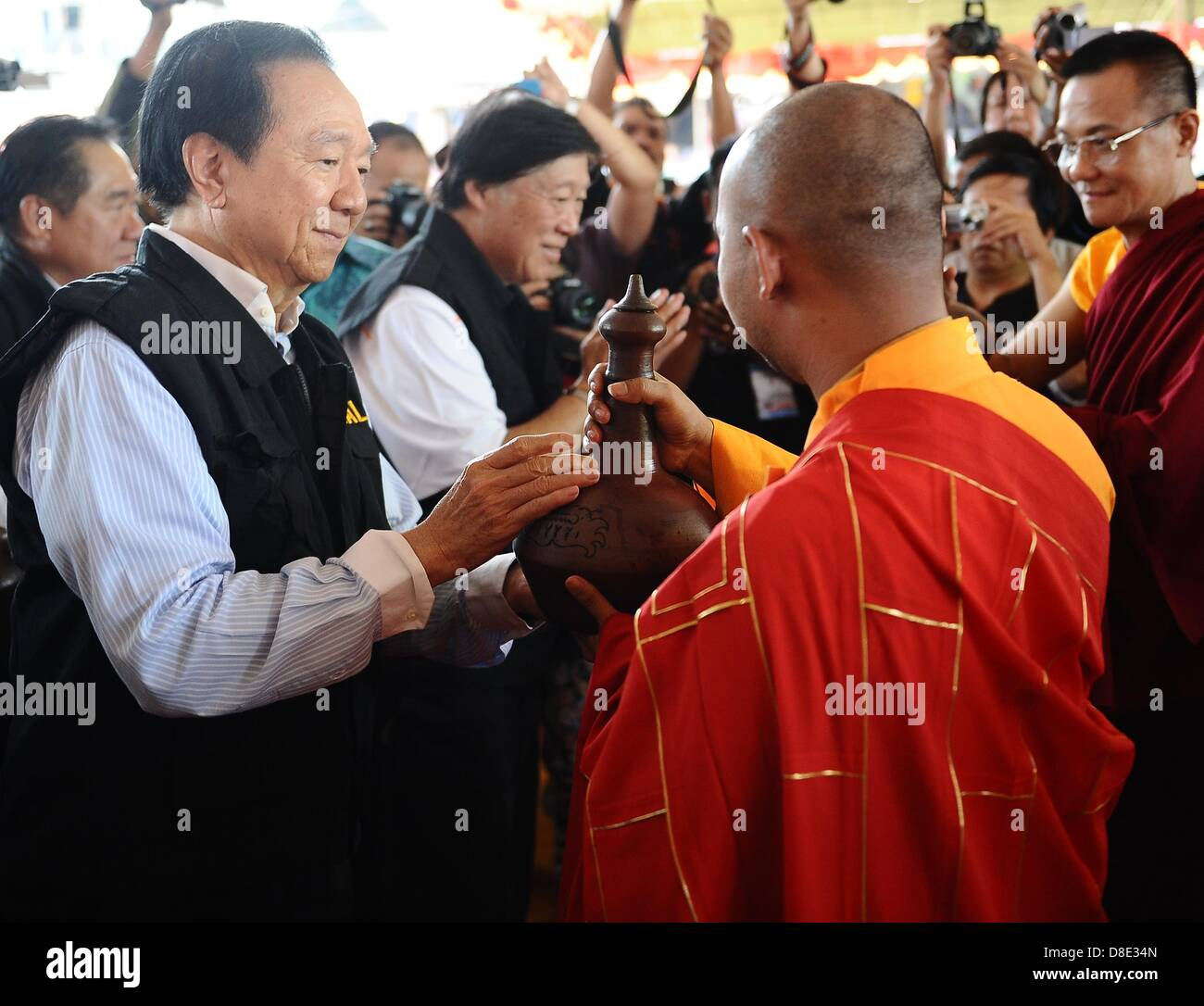 Magelang, Indonesia -  Walubi Assembly members give blessing water taken from Umbul Jumprit, Temanggung, Central - Stock Image