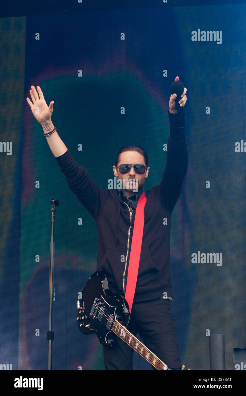 Jared Leto, actor and front man of 30 Seconds to Mars performing at Radio1's Big Weekend 2013 in Derry, Northern - Stock Image