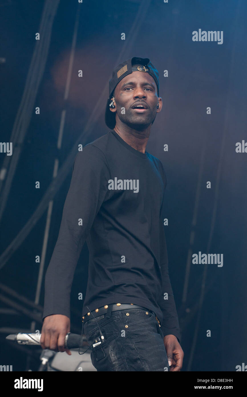 Wretch 32 (Jermaine Scott Sinclair) rapper and former Grime MC from Tottenham, London performing on the Main Stage - Stock Image