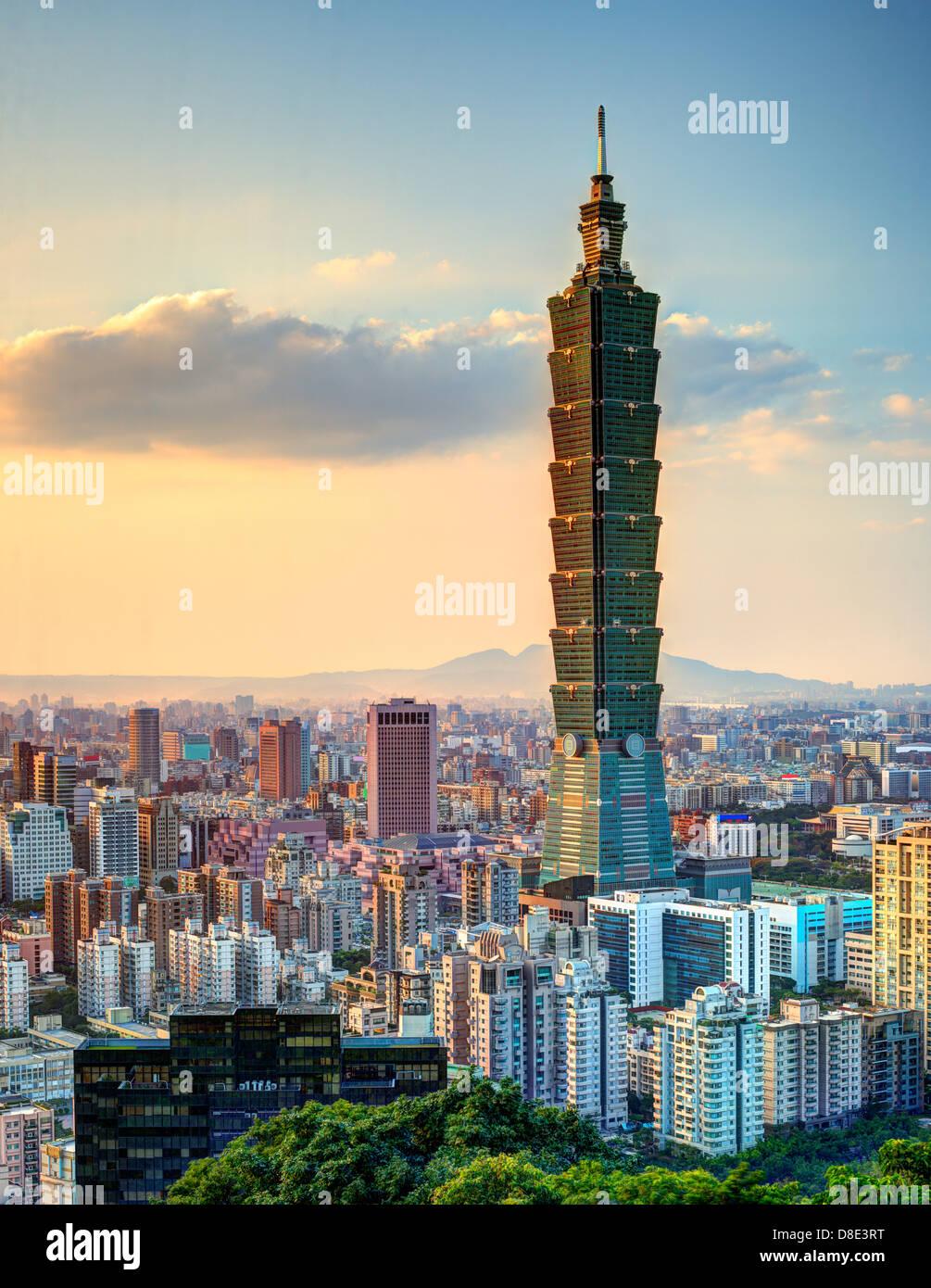 Skyline of Xinyi District in downtown Taipei, Taiwan. Stock Photo