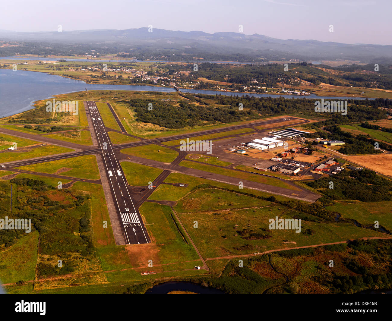 Astoria Airport in Oregon, an aerial photo of the run way
