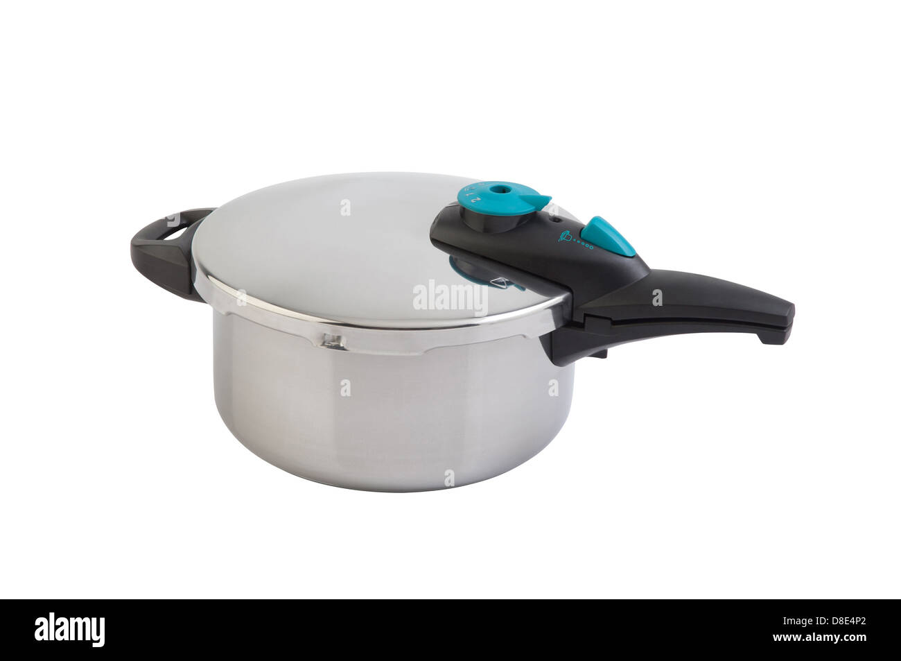 High pressure aluminum cooking pot with safety cover - Stock Image