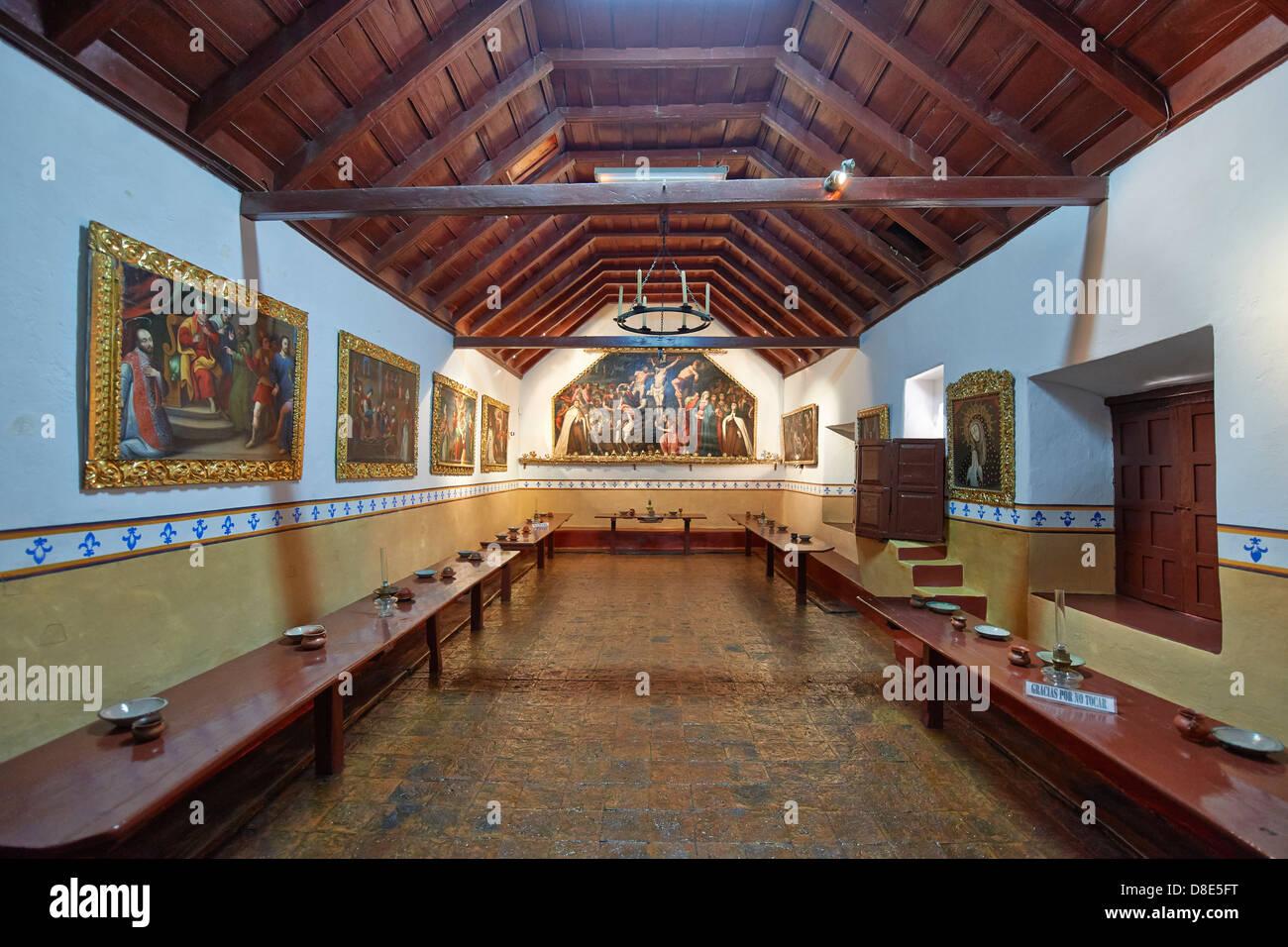 Dining room in Convento de Santa Teresa, Potosi, Bolivia - Stock Image