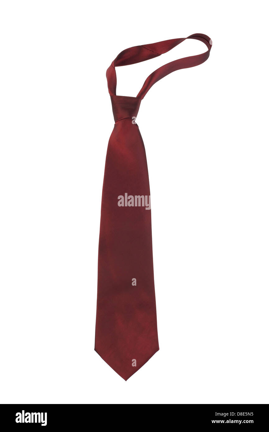 Red necktie isolated on white background - Stock Image