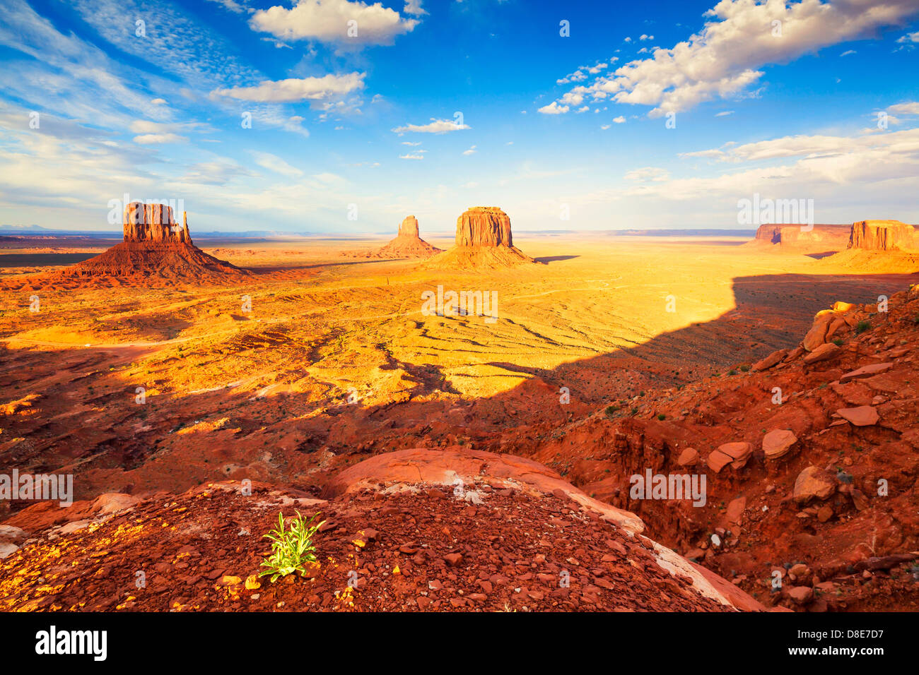 West and East Mitten Butte and Merricks Butte, Monument Valley, Utah, USA - Stock Image