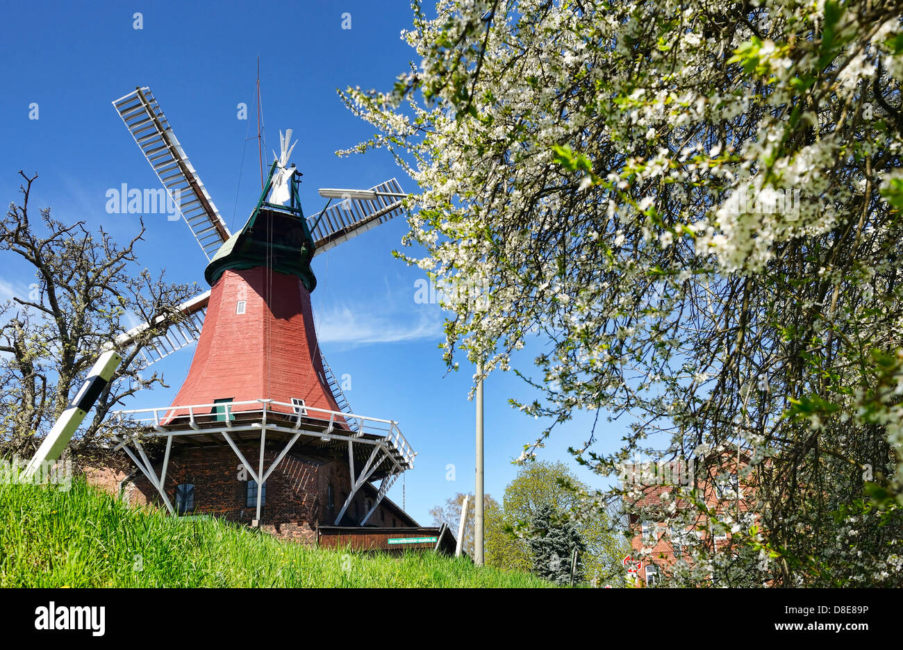 Reitbrooker Muehle mill in Hamburg, Germany, Europe - Stock Image
