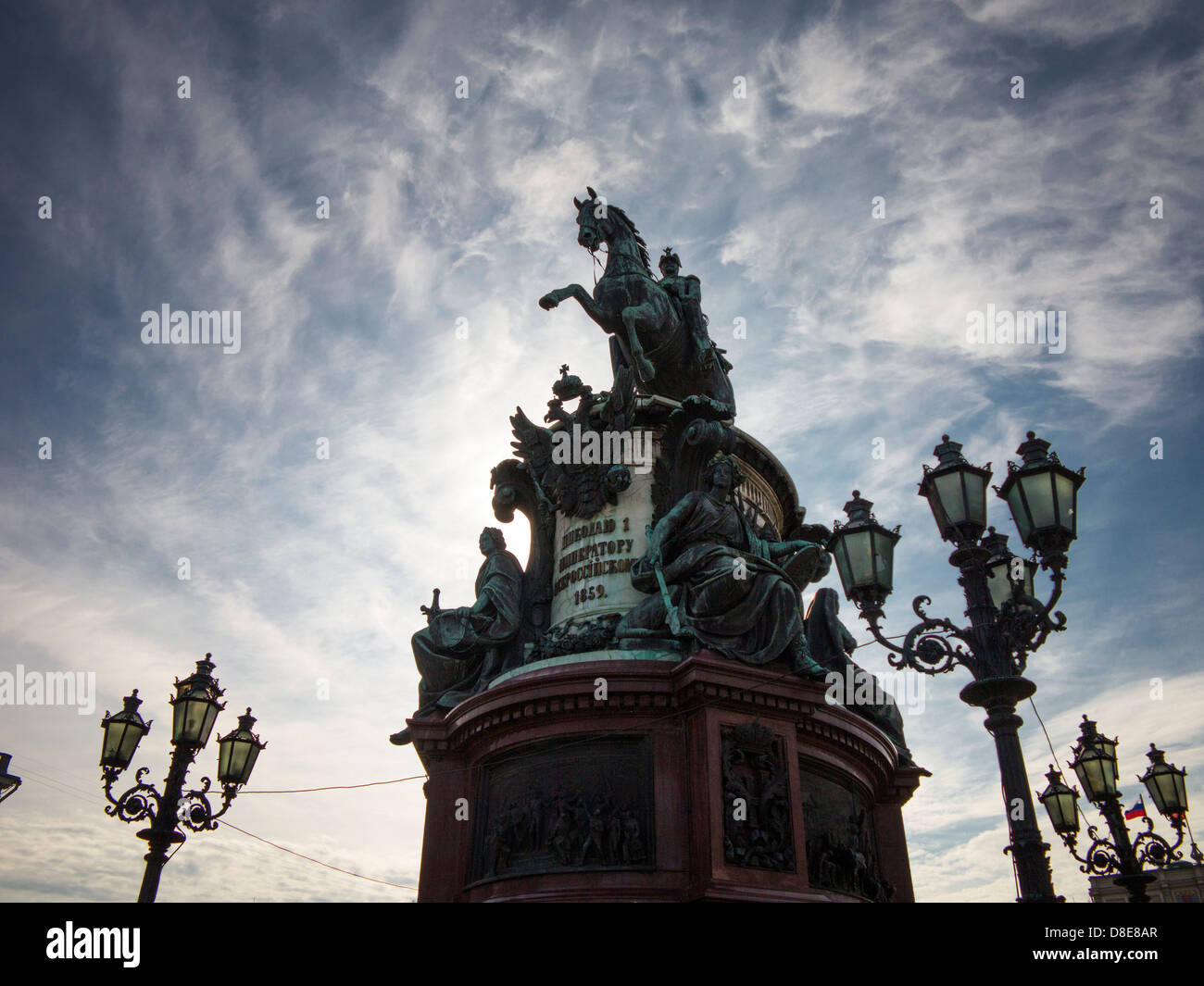 Equestrian statue of Emperor Nicholas I at Isaac Square, Saint Petersburg, Russia - Stock Image