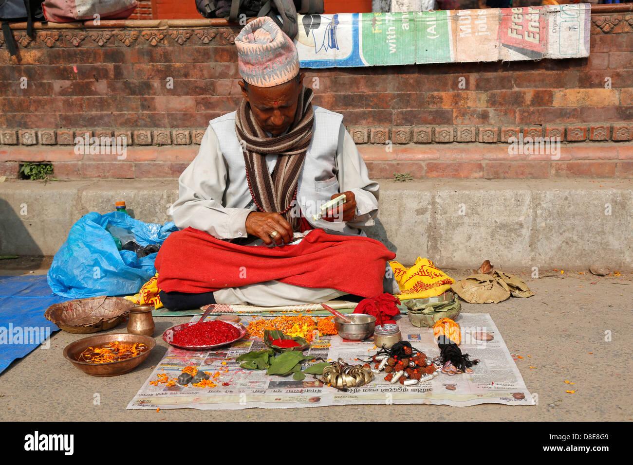 Sadhu in front of Pahupatinath Temple, Kathmandu, Nepal, Asia - Stock Image