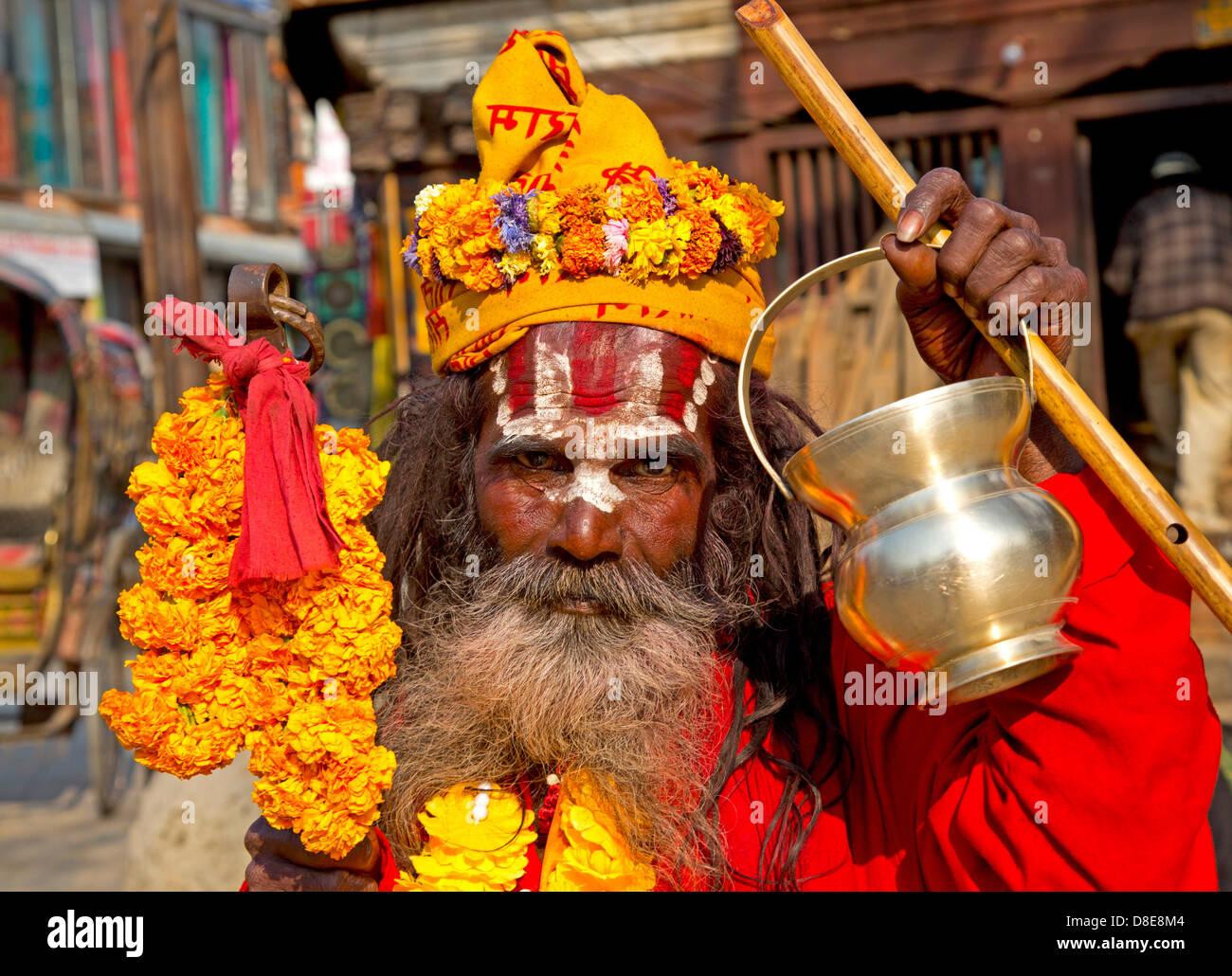 Sadhu, Durbar Square, Kathmandu, Nepal, Asia - Stock Image