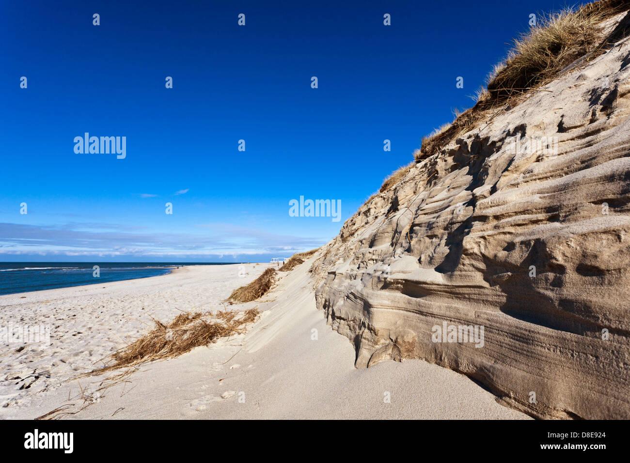 Escarpment of the dune on beach of Hoernum, Sylt, Schleswig-Holstein, Germany - Stock Image