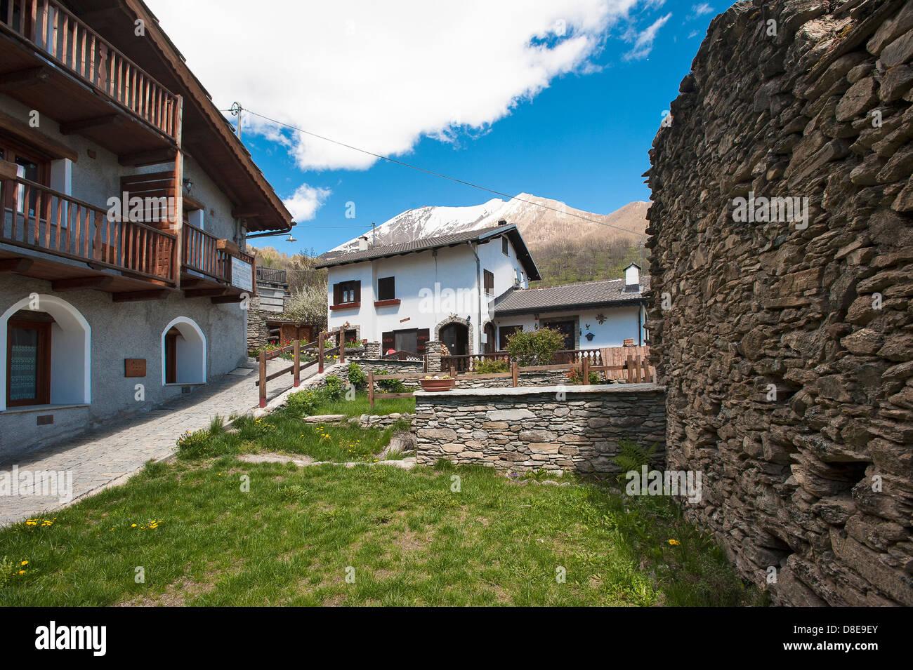 Europe Italy Province of Torino Piedmont Orsiera Rocciavriè Park Usseaux the mountain Village - Stock Image