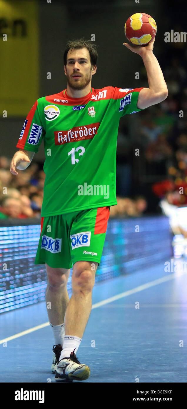 Magdeburg's Jure Natek is pictured during the handball Bunbdesliga match between SC Magdeburg and VfL Gummersbach - Stock Image