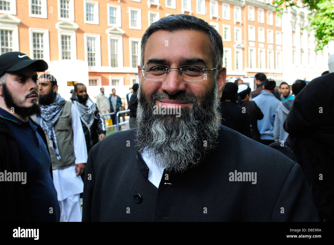 The extremist Islamist Anjem Choudary at a protest outside the US Embassy in London, UK. - Stock Image