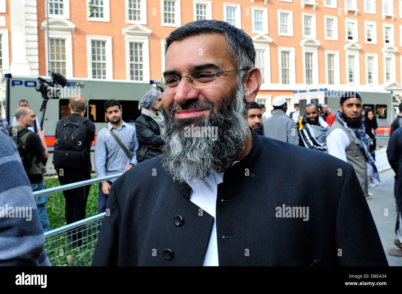 The Radical Islamist Anjem Choudary at a protest outside the US Embassy in London, UK. - Stock Image