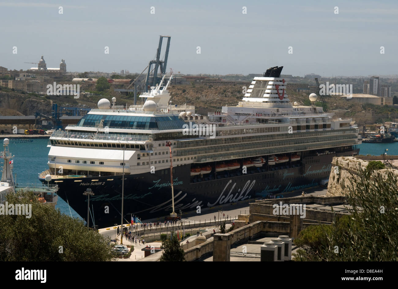 Cruise ship Mein Schiff 2 calls into grand harbour to allow it passengers to explore Malta for the day. - Stock Image