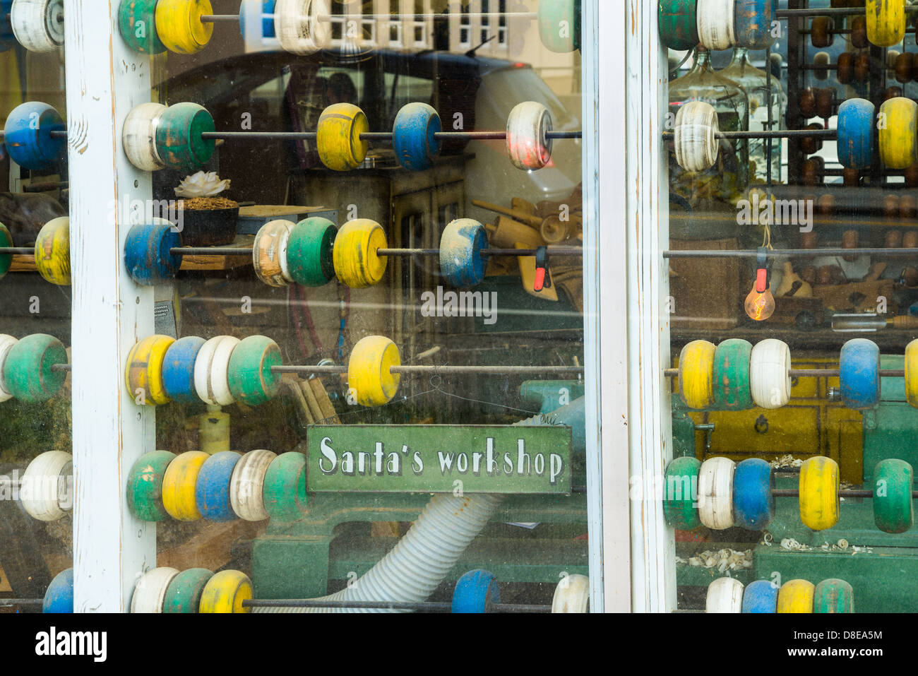 Santa;s workshop. Window with abacus beads. - Stock Image