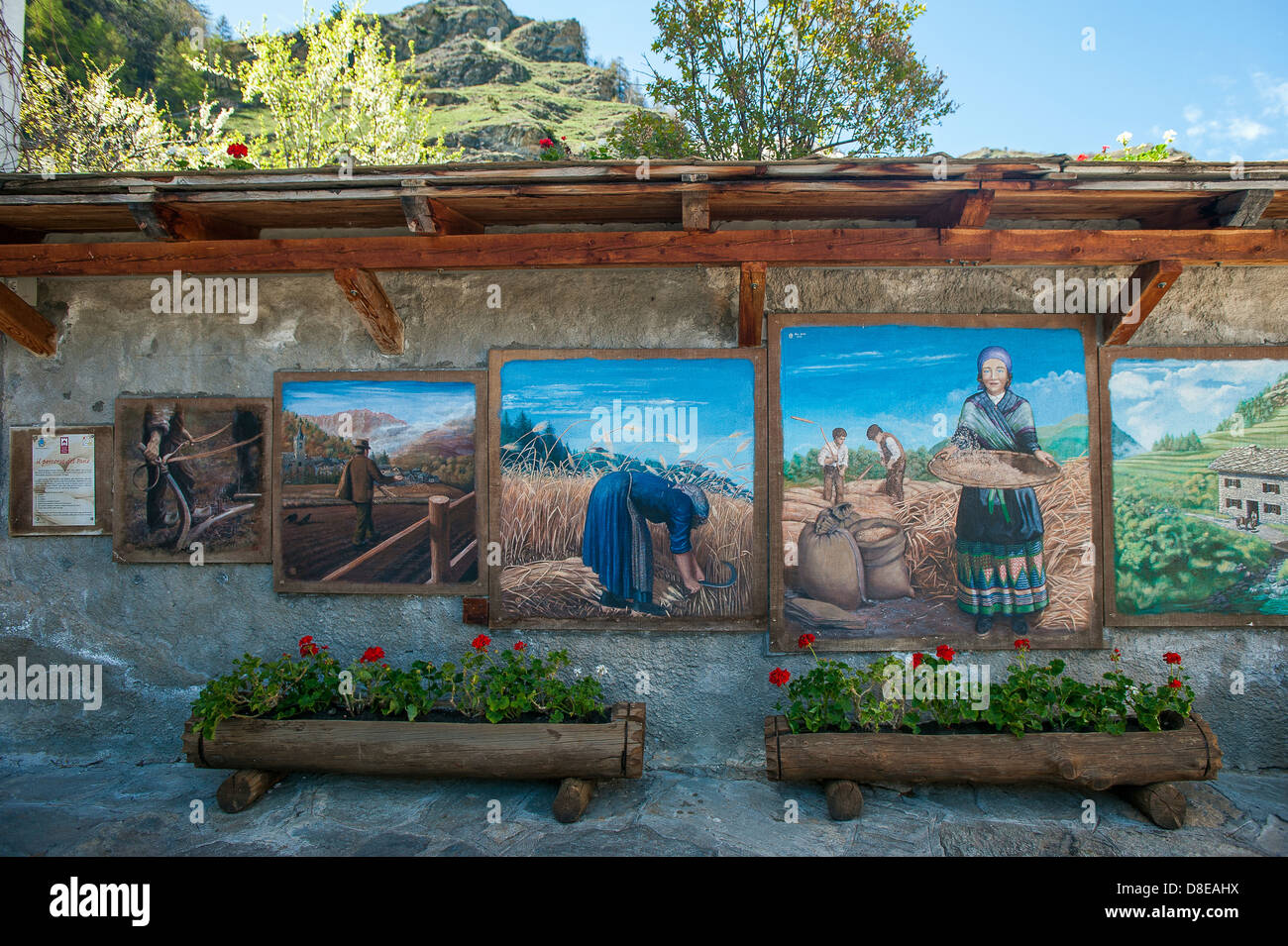 Europe Italy Province of Torino Piedmont Orsiera Rocciavriè Park Usseaux the country Painting,murals with scenes - Stock Image